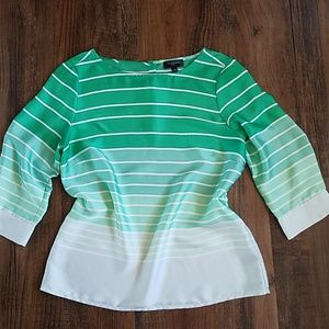 The Limited green striped blouse S petite
